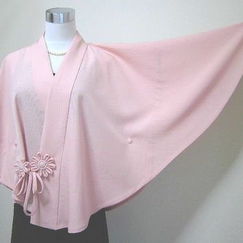 silk ro kimono poncho  three quarter sleeves : pale pink / all hand sewing ( worldwide free shipping by EMS)