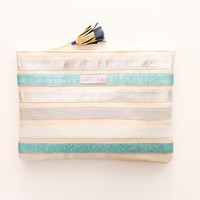 ZEBRA 2 / Natural textured leather convertible clutch bag - Ready to Ship