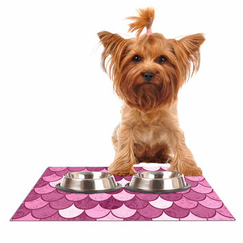 "Famenxt ""Pink Mermaid"" Pink Pattern Illustration Dog Place Mat"