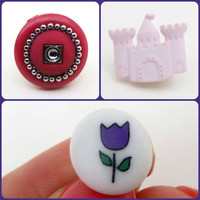 Pink Castle Pin Sparkle Pink Pin Purple Flower Pin Princess Brooch Lapel Tie Tack Dress Up CELEBRATION SALE! Buy 1 Get 2 Free