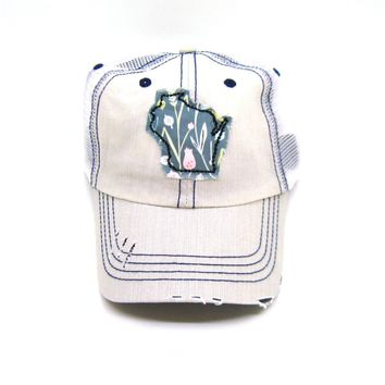 Wisconsin Hat - Distressed Trucker Hat - Floral Fabric - Many Fabric Choices