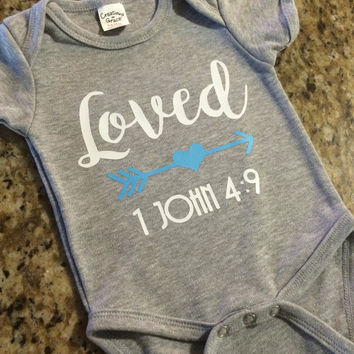 Loved christian Onesuit bible verse baby shower gift