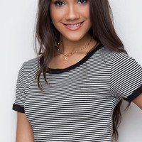 Aracely Stripe Top - Black