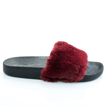 Matty01 Burgundy By Wild Diva, open toe fluffy faux fur rubber molded foot bed slides