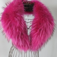 Genuine whole skin   Raccoon fur collar / fur scarf/ pink collar hot sale 80*15cm