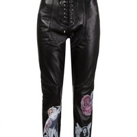 CLAIRE BARROW - Graphic Leather Pant - CBAW1507 BLACK - H. Lorenzo