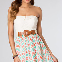 Short Strapless Print Dress