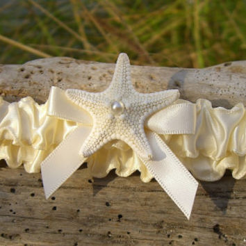 Bridal Beach Wedding Garter,Starfish Garter,Bridal Garter,Ivory Wedding Garter,Bride Accessories,Destination Wedding,Bridal Shower Gift,