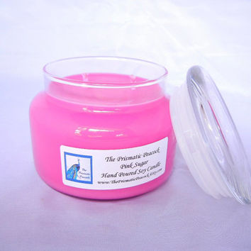 pink sugar scented soy candle, 12 oz apothecary jar, pink, home decor, gifts for her