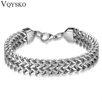 New Jewelry Metal Stainless Steel Biker Men's Motorcycle Chain Punk Rock Male Bracelet Silver Color For Men's Gift