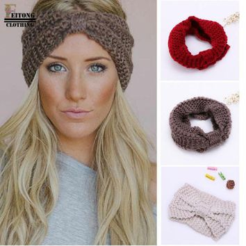 FEITONG 2017 hair accessories Fashion Winter Warm Women Bowtie Crochet Braided Knit Wool Hat Cap Headband For Women Hair Band