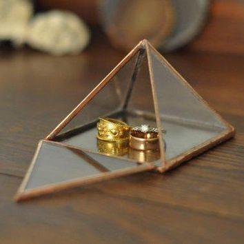 Pyramid Display Box   Small Glass Pyramid   Jewelry Box   Hinged   Silver Or Copper   Eco Friendly