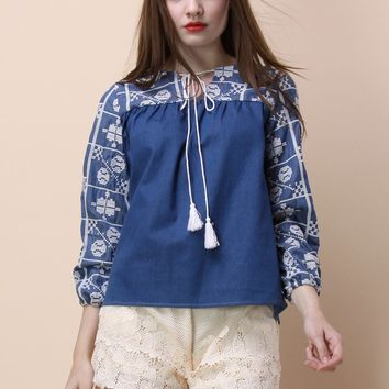 Adorable Cross-stitch Chambray Top