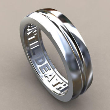 6mm Mens Wedding Band Sterling Silver Until Hidden Message