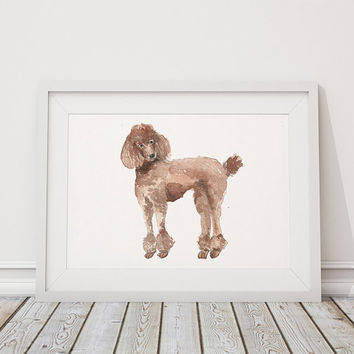 Poodle poster Cute nursery decor Watercolor dog print ACW110