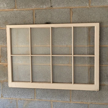 Vintage 8 Pane Window Frame - Off White, 40 x 28,  Rustic, Wedding, Engagement, Beach Decor, Photos, Pictures, Holiday, Decor