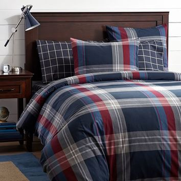 Walker Plaid Duvet Cover + Sham, Red