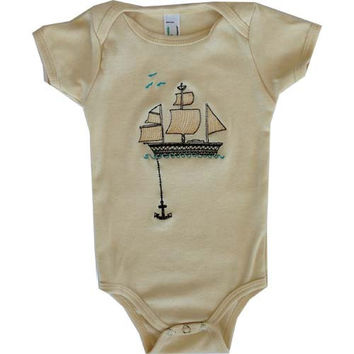 Embroidered One Piece and Toddler Tee  - Boat