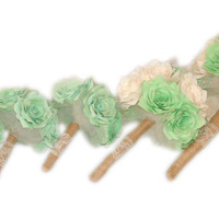 Mint Green Wedding bouquets, Lace Bridal Party bouquets, Burlap bouquets, Silk bouquet, Fake bouquets, Paper bouquets, Shabby chic bouquets