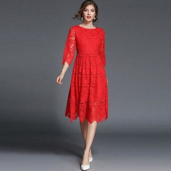 Women's Vintage, Elegant and graceful, Flowing, 3/4 Length Sleeve, Mid Calf Dress. Comes in Blue or Red