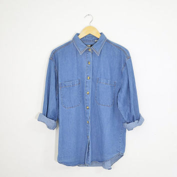 Vintage 90s Grunge Denim Medium Wash Blue Jean Boyfriend Shirt Button Down Long Sleeves Size Womens Medium Large