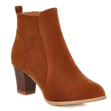 Suede Ankle Boots With Zipper Design