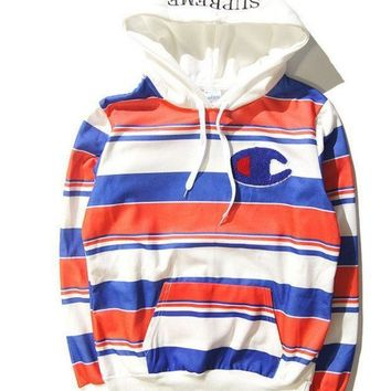 PEAP2 Supreme & Champion Hoodies Hip-hop Stripes Cotton Sweatshirt