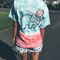 Short Sleeve Women's Fashion Pattern Ivory Ella Elephant Decoration T-shirts [8894721607]