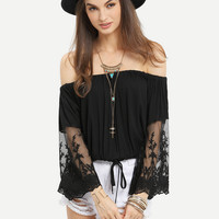 Lace Patchwork Sleeve Loose Strapless Shirt 11044
