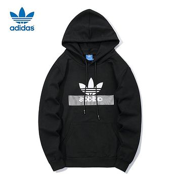 ADIDAS Clover Tide brand men and women long sleeve hooded hoodie black