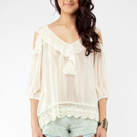 No Turning Back Tie Top in Cream :: tobi