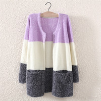 Womens Winter Warm Comfortable Knit Sweater with Pockets