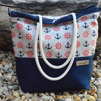 Diaper bag Zippered bag Sailor navy crossbody bag Beach bag Weekender bag