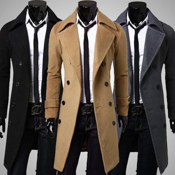 Mens Trench Coat European style New Fashion Designer Men Long Coat Winter Double-breasted Windproof Trench Plus Size