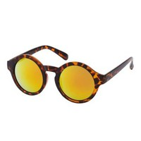 Brown Combo Revo Lens Round Sunglasses by Charlotte Russe