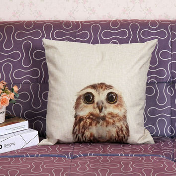 Happy Gifts  Pillow personalized pillowcase  Vintage Owl Cotton Linen Pillow Case  Waist  Pillow Shams Good Quality