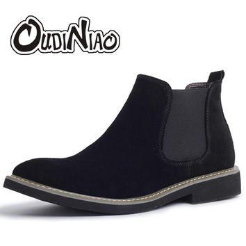 OUDINIAO Cow Suede Chelsea Boots Men Cowboy Slip On Mens Casual Ankle Boots Man Round Toe Spring Fashion 2018 Shoes Men Leisure