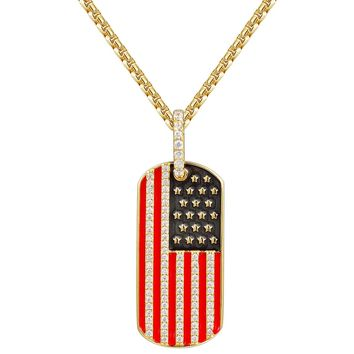 American Flag Design Iced Out Dog Tag Pendant Necklace