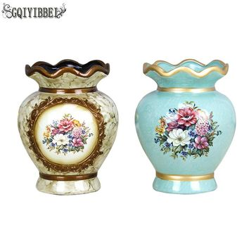 European Classic Ceramic Vase Chinese Art and Craft Decoration Contract Decal Vase Creative Gift home Wedding Decoration