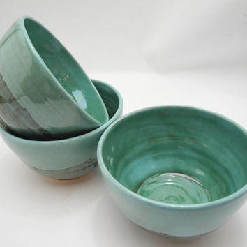 Small Dessert Bowl, Handmade Ceramics in Turquoise Teal and Brown