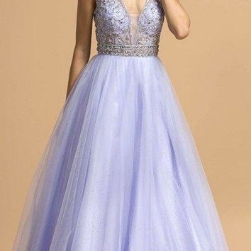 Cut-Out Back Beaded A-Line Long Prom Dress Perry Blue
