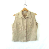 vintage cropped silk tank top. button up sleeveless shirt. natural minimalist.