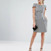 Closet London Stripe Print Short Sleeve Dress at asos.com