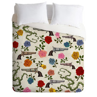 Belle13 Sweet Guns And Roses Duvet Cover