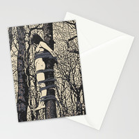 Dirty outdoors fetish games, ropes fun in deep forest, BDSM erotic artwork, tied slave girl Stationery Cards by hmdesignspl