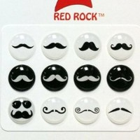 Red Rock Black and White Mustache Styles 12 Pieces Home Button Stickers for iPhone 5 4/4s 3GS 3G, iPad 2, iPad Mini, iPod Touch