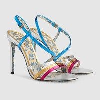 shosouvenir  GUCCI  Metallic leather sandal with sequins