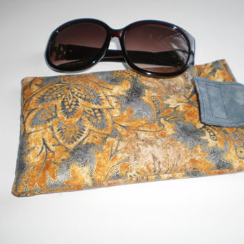 Large Sunglasses Padded Case Grey Tan Fabric Handmade Glasses Pouch Glasses Case Mother's Day Gift
