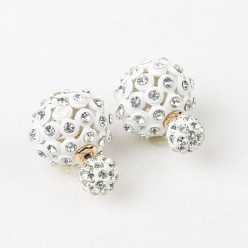 White Crsytal Ball Through And Through Earrings