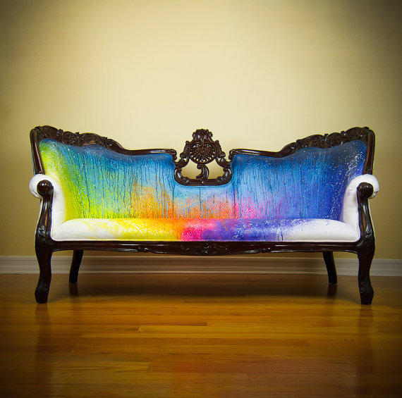 Splash Dyed Sofa - Painted Victorian Couch - ONE of a KIND Avant Garde Street Art Graffiti Artistic Rainbow Upholstered Masterpiece